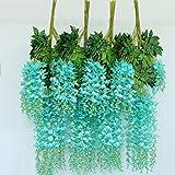 OUNONA Glicine Artificiale Fiori Ghirlanda Matrimonio Casa Decorazioni 12pcs (Tiffany Blu)