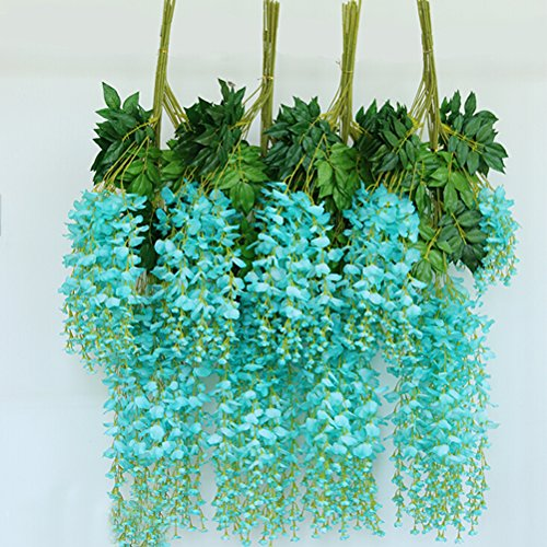 Pixnor 12pcs/Menge künstlichen 110CM Home Decor künstliche Wisteria Simulation Blumen Girlande Hochzeitsdekoration (Tiffany Blue) (Decor Wisteria Home)