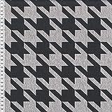 Sweat Baumwollsweat Stoff Hahnentritt grau meliert schwarz