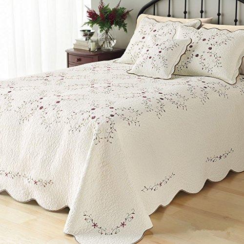LELVA? Oversize Tagesdecken coverlets Set Floral Patchwork Quilt Set beige California King 3, Baumwolle, beige, California King (Für King-size-bett Quilts)