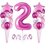 2er Cumpleaños Globos, Decoración de cumpleaños 2 en Rosas, Feliz cumpleaños Decoración Globos 2 Años, Globos Numeros para Fi