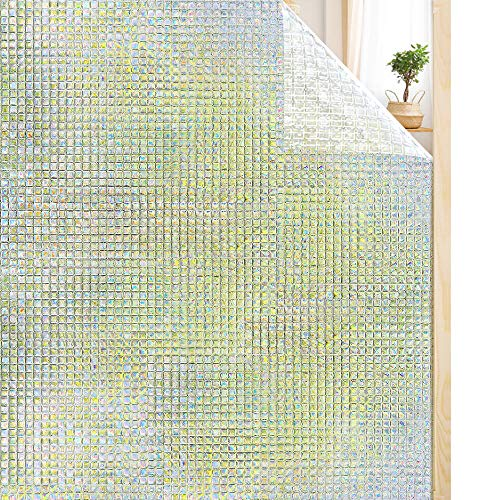 Rabbitgoo® Static Cling Window Film 3D No-Glue Decorative Privacy Frosted Glass Window Film Sticker Anti-UV, for Home Kitchen Office 44.5 x 200cm