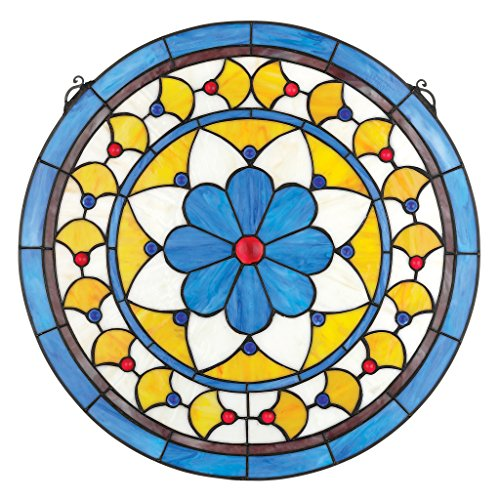 Buntglas-Panel - Victorian Blauer Blume Runde Buntglas-Fenster Behang - Fensterbehandlungen (Tiffany Blumen-art-glas)