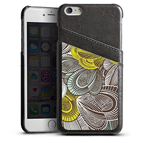 Apple iPhone 5s Housse étui coque protection Motif Motif Feuilles Étui en cuir gris