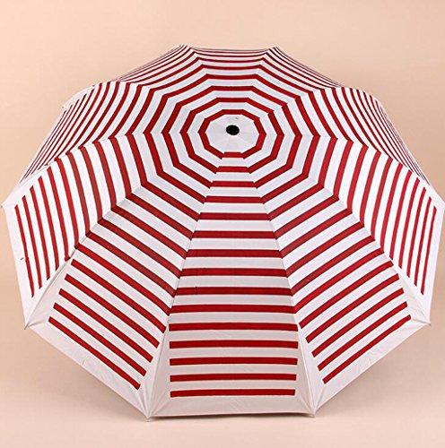 GTWP GT Regenschirm Manual Mode 3 Folding Umbrella kreativ Streifen Stockschirm robuste winddicht Anti-UV-Sonnenschutz Dach
