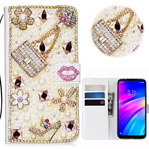 Print Strass-handtasche Geldbeutel (Xiaomi Redmi 7 Glitter Hülle Case,3D Handtasche Absatz Lippe Strass Diamant Weiße Ledertasche PU Lederhülle Flip Hülle Ständer Wallet Tasche Schutzhülle Glitzer Handy Case für Xiaomi Redmi 7)