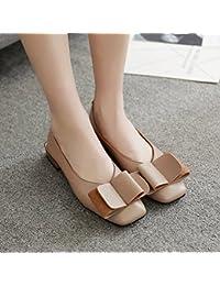 Xue Qiqi Cabeza Cuadrada Baja con Solo Zapatos Femeninos Boca Superficial Pajarita con audaces Zapatos Zapatos...