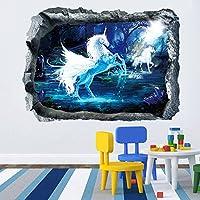 DecalMile Vinilos Unicornio 3D Animales Pegatinas Pared Desmontable Decorativos Adhesivos Para Sala De Estar Dormitorio Habitación Niños