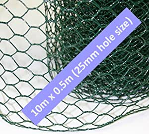 10m x 0.5m ROLL HEXAGONAL GREEN PVC COATED CHICKEN WIRE MESH. 25mm HOLE. FENCING