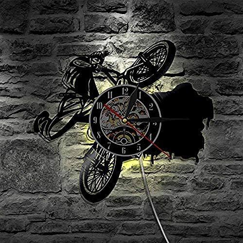 SSCLOCK 1 Stück BMX Bikes Sport Fahrrad LED Vinyl Uhr Beleuchtung Farbwechsel Silhouette Wandleuchte Fernbedienung Led Hintergrundbeleuchtung