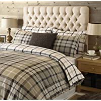 "Riva Paoletti Rochester King Size Bed Duvet Set - Tartan Check Design - 2 x Housewife Pillowcases Included - Beige and Grey - 100% Cotton - Machine Washable - 230 x 220cm (91"" x 87"" inches)"