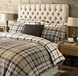 """Riva Paoletti Rochester Double Bed Duvet Set - Tartan Check Design - 2 x Housewife Pillowcases Included - Beige and Grey - 100% Cotton - Machine Washable - 200 x 200cm (79"""" x 79"""" inches)"""