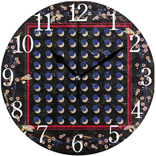 HAYDE Wall Clock Bright Polka Dots and Flower Silent Non Ticking Operated Round Easy to Read Home Office School Clock