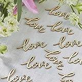"""Streudeko Holzschriftzug """"love"""", 25 St. - Lasercut -Tischdekoration aus Holz in Vintage Look"""