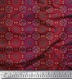 Soimoi Rot Baumwolle Ente Stoff Streifen & Mandala