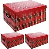 3er Set Faltschachtel mit Deckel 49x39x24cm, Muster: Kariert, in 3 Farben erhältlich, Aufbewahrungsbox Aufbewahrungskiste Ordnungsbox Faltbox, Farbe:Rot