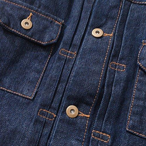 Honghu Uomo Moda Retro Cinese Stile Denim Button Down Manica Lunga Shirt Camicia Blu