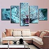 mmwin Lienzo Decoración Modular Artwork s 5 Piezas Animal Leopardo Tigre Ojos Azules Imágenes Arte de la Pared Impresiones HD Cartel Abstracto