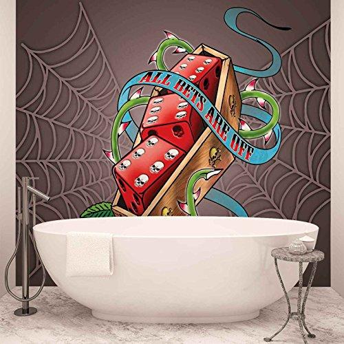 Alchemy Dados Calaveras Telaraña Papel pintado fotográfico–cuadro de papel pintado fotográfico de papel pintado (2325ws), FIELTRO (EasyInstall), PANORAMIC - 250cm x 104cm
