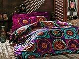 Parure de lit king size Ranfoce Coton Parure de lit avec housse de couette Paisley Mandala Mystic Nirvana hippie Gypsy indien ethnique africain Reactive Impression Yoga Oriental Bouddha Feng Shui