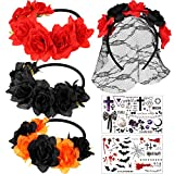 3 Pièces Bandeau de Jour des Morts Bande de Cheveux Florale de Couronne de Fleurs Mexicaine Bandeau de Voile Halloween, Pièces Autocollants de Tatouage Temporaire Halloween pour Fête de Halloween