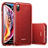 ESR Coque pour iPhone XS Max Rouge, Etui Silicone Paillette Strass Brillante Bling...