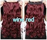 """Best selling!Good quality 5 Clips 20"""" Synthetic Long Wavy/Curly One piece Clip In Hair Extensions Hairpieces 3/4 Full Head Clip in Hair Extensions (# wine red)"""