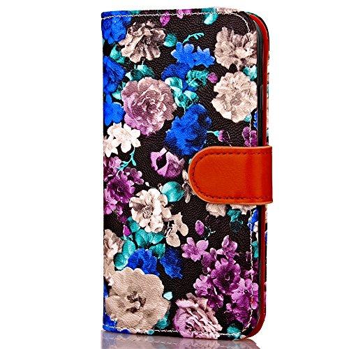 iPhone Case Cover Tusche-Malerei-Blumen-Muster-lederner Fall-horizontaler Schlag-Standplatz-Fall-Abdeckungs-Folio-Mappen-Kasten mit Foto-Rahmen für Apple Iphone 6S ( Color : 4 , Size : Iphone6 6s ) 1