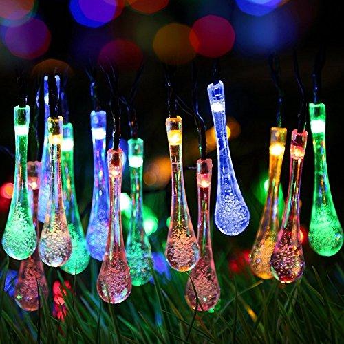 GDEALER Solar Outdoor Lichterkette 6 Meter 30 LEDs Wassertropfen Solarbetrieben Lichterkette Wasserfest Weihnachten Dekoration für Garten, Terrasse, Hof, Haus, Weihnachtsbaum, Feiern – RGB - 6