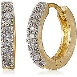 Ava Golden American Diamond Hoop Earrings For Women