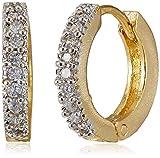 Ava Golden American Diamond Hoop Earring...