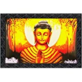 JSOnline Lord 'buddha' Wall Paintings With Frame / 'gautam Buddha' Religious Painting Large Size Satin/velvet Finish Print With Synthetic Wooden Frame 12x18 Inches For Home Decoration