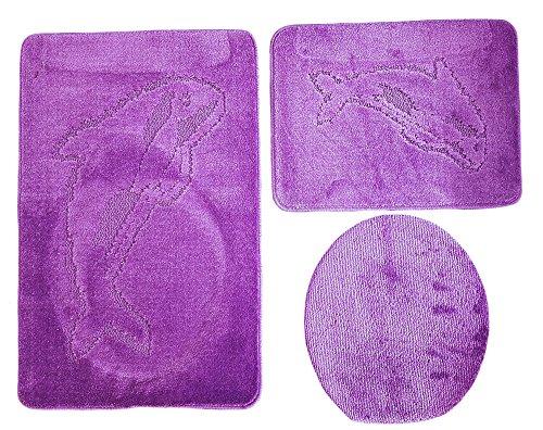Ilkadim Delphin Badgarnitur 3 TLG. Set 55x85 cm einfarbig, WC Vorleger ohne Ausschnitt für Hänge-WC (lila)