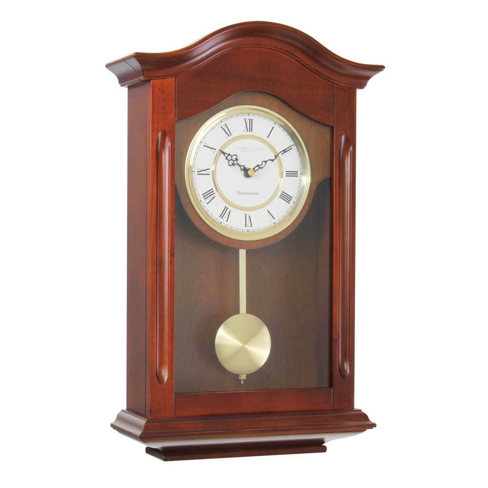 Oak finish pendulum wall clock lc25058 amazon kitchen home amipublicfo Choice Image