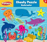 PLAYSKOOL 12 X 9 CHUNKY WOOD PUZZLES ASSORTMENT - SAFARI, FARM AND UNDERWATER (11838)