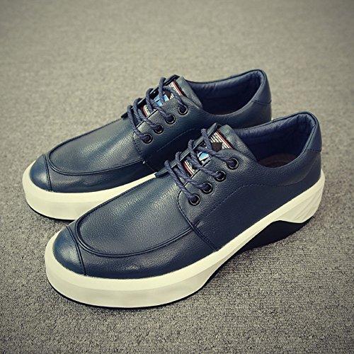 FEIFEI Scarpe da uomo Primavera e Autunno Moda scarpe in pelle tempo libero traspirante fondo spesso 2 colori ( Colore : Nero , dimensioni : EU42/UK8.5/CN43 ) Blu