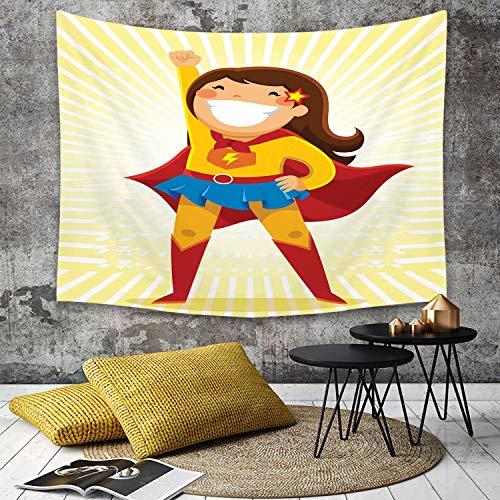 Tapestry, Wall Hanging, Superheld, mutiges kleines Mädchen mit einem großen Lächeln im Kostüm, das in einer her,wall hanging wall decor, Bed Sheet, Comforter Picnic Beach Sheet home décor 180 x 230 cm (Kleine Superhelden Mädchen Für)