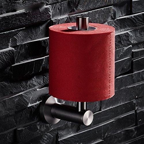 ZHEN GUO an der Wand befestigtes vertikales Toilettenpapierhalter des rostfreien Stahls vibrierendes gebürstetes Nickel, Badezimmer Single Post Tissue TP Rollenhalter mit runder Platte -