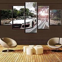 Moderne Home HD Gedruckte Poster Frame 5 Stck Bilder Weissen Sportwagen Audi Spyder Leinwand Gemlde