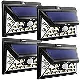 [Versión Actualizada] Mpow 24 LED de Luz Solar con Placa Electroestática Mejorada, Gran Angular 120 ° Exterior Solar, Reflector Solar a Prueba de Agua, Sensor de Movimiento LED para Patio, Terraza, Jardín, Pared Exterior (4 paquetes)