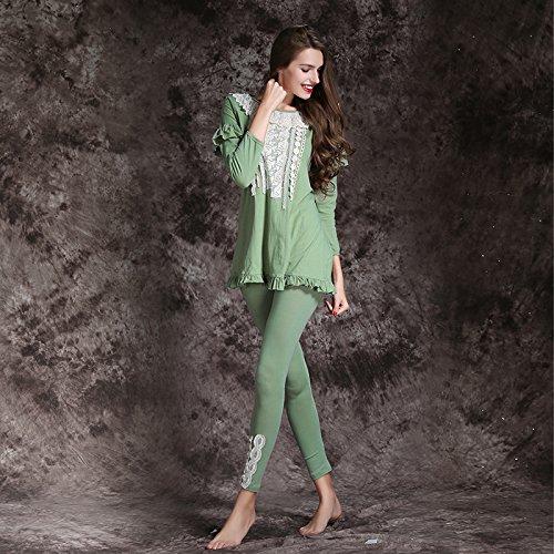 GJX Coton de manches longues automne femmes pyjama mettre des vêtements en coton Green
