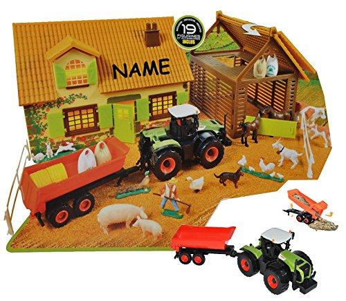 Unbekannt Set: XL Bauernhof / Pferdestall mit Stall + Traktor mit Tiere + Zubehör incl. Namen - Maßstab 1/43 - zum Spielen für Kinder Pferd + Bauen aus Plastik / Kunsts.. -