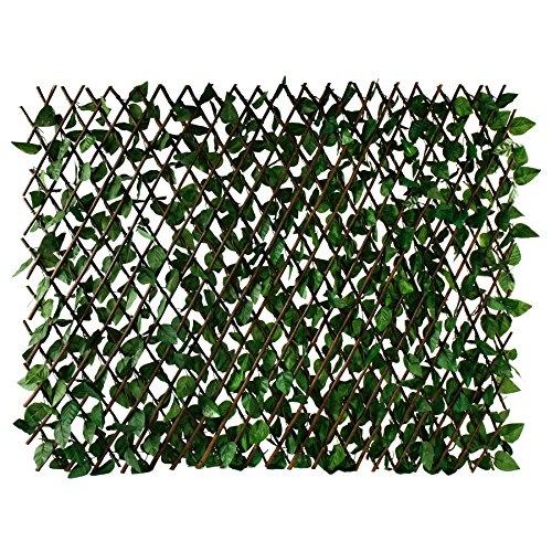 XXL Dekozaun aus Weide mit Efeu-Blättern 180 x 90 cm