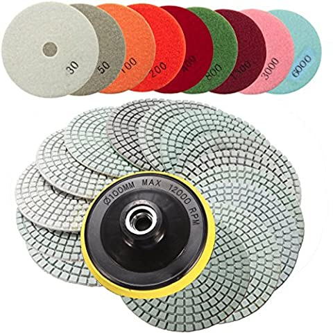 Diamond Polishing Pads,GOCHANGE 15PCS 4 inch Wet,Dry Diamond Polishing Pads Stone Polishing Accessories / Polisher Wheel Disc Grit for Granite Marble Concrete Stone Buffing