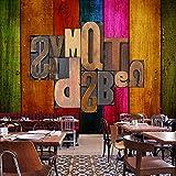 Wongxl Antike Holzläden Brief Wallpaper Café Bar Hintergrund Tapete Große Wandbilder 3D Tapete Hintergrundbild Fresko Wandmalerei Wallpaper Mural 350cmX300cm