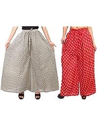 Fashion Store Women's 1 Cotton & 1 Rayon Stylish Printed Full Flair White & Red Plazo (Free Size, Set Of 2)