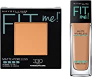 Maybelline New York Fit Me Matte Poreless Powder, 330 Toffee, 8.5g+Maybelline New York Fit Me Matte with Poreless Foundation,