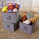 Lifewit 3 Stück Faltbare Aufbewahrungsbox mit Etikettenhalter, Regaleinsatz Schrankkorb Stoffbox Spielkiste mit Griffe, Bücher/ Büroartikel/ Kinderspielzeug/ Kleidung Organizer, 30 x 43 x 25 cm, 32L, Grau