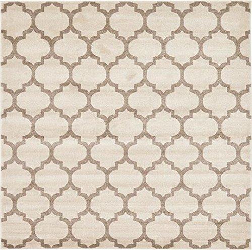 8 Square-beige-teppich (Moderne geometrische-Gitter Zeitgenössische Bereich Teppich, beige, 8 x 8 square)