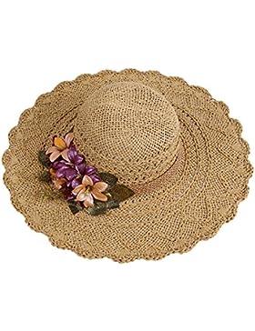 Sombrero De Paja Señoras Verano Viajes Sunscreen Sombreros De Playa Sombreros De Playa Flores Sombrero Fresco...